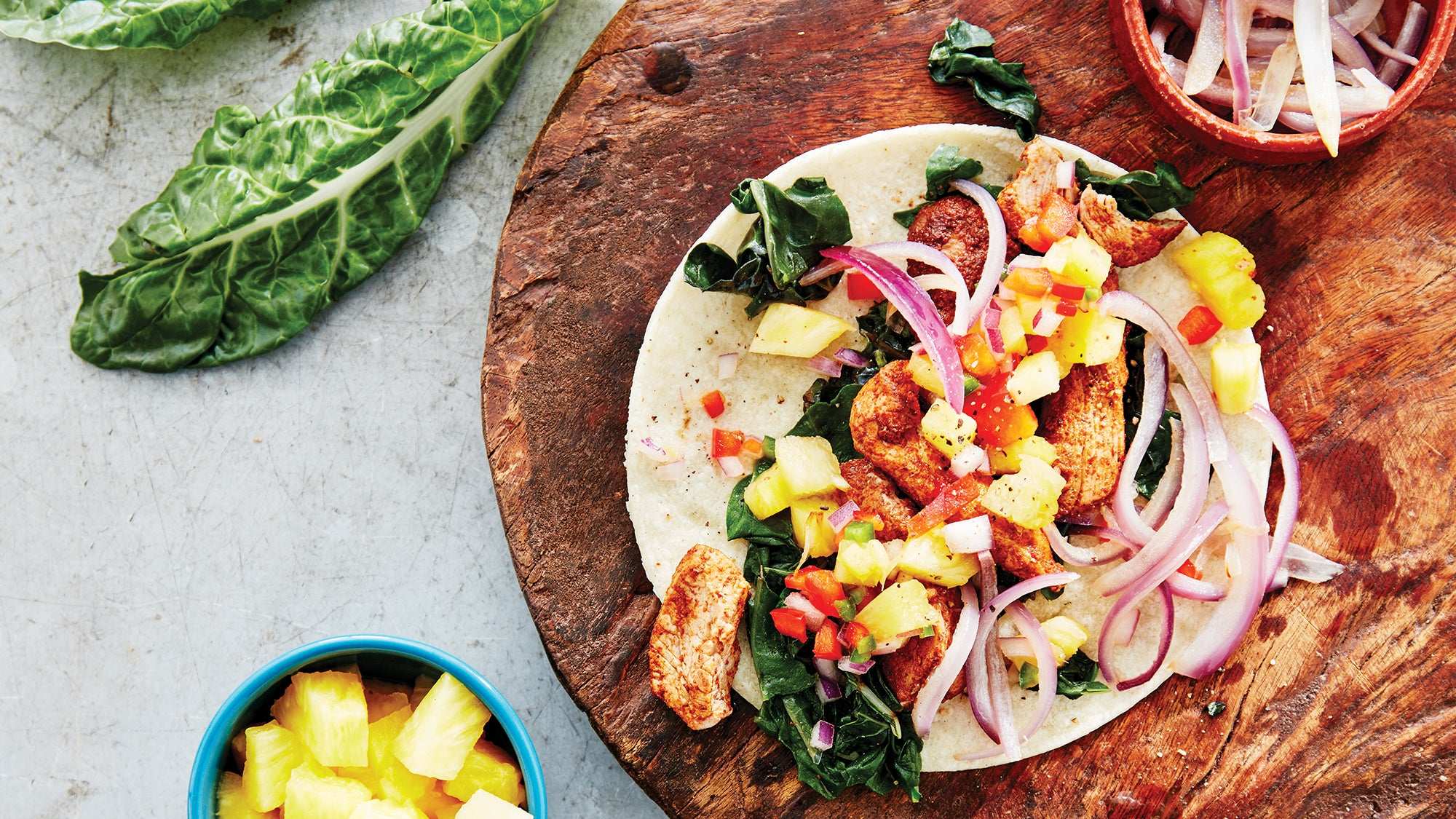 Pork and Swiss Chard Tacos with Spicy Pineapple Salsa Recipe