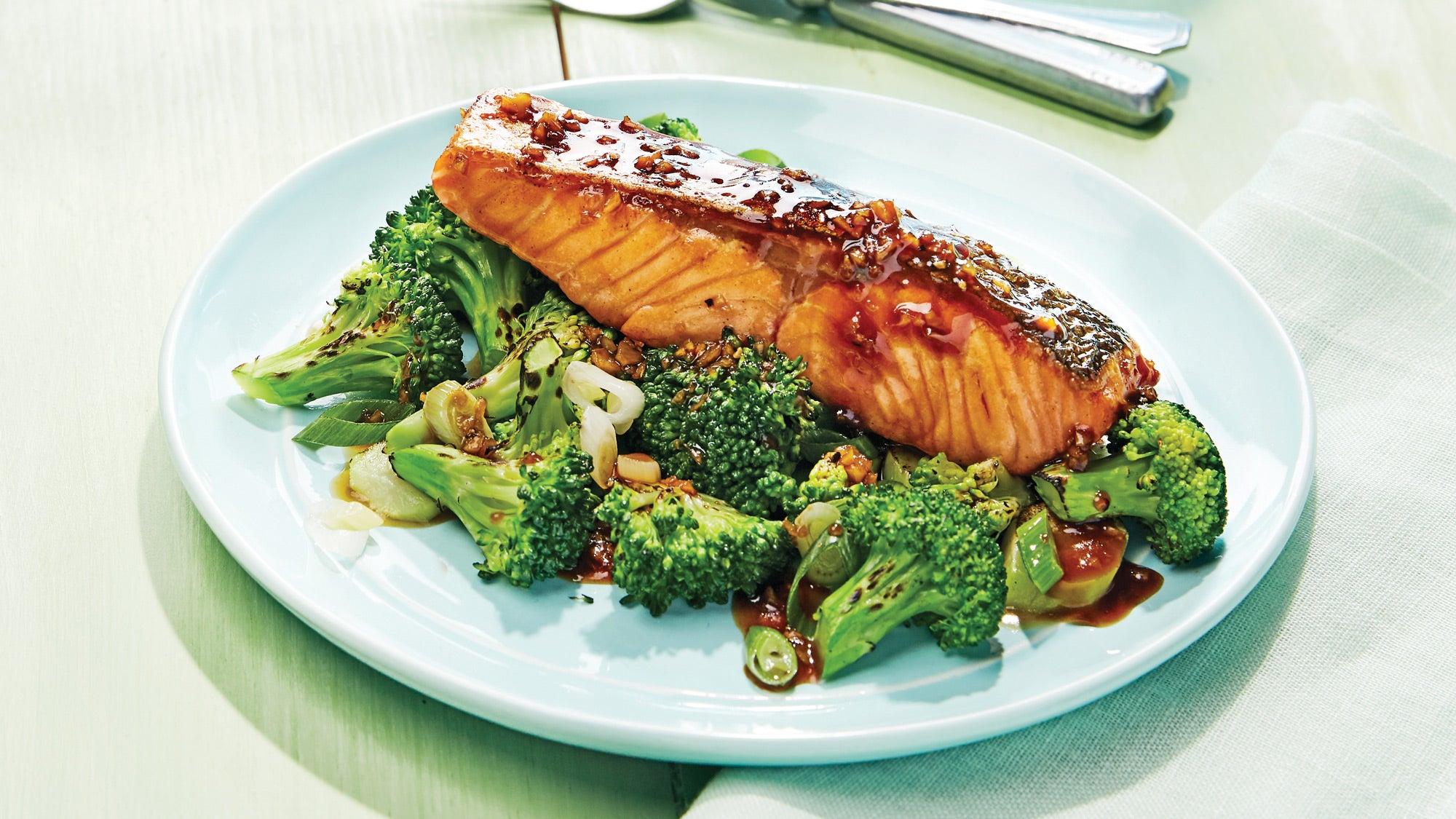 Roasted Salmon Teriyaki with Broccoli