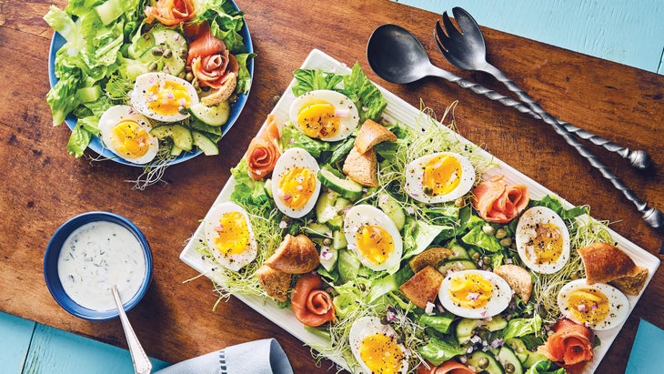 """Smoked Salmon """"Bagel"""" Salad with Lemon Chive Buttermilk Dressing recipe"""