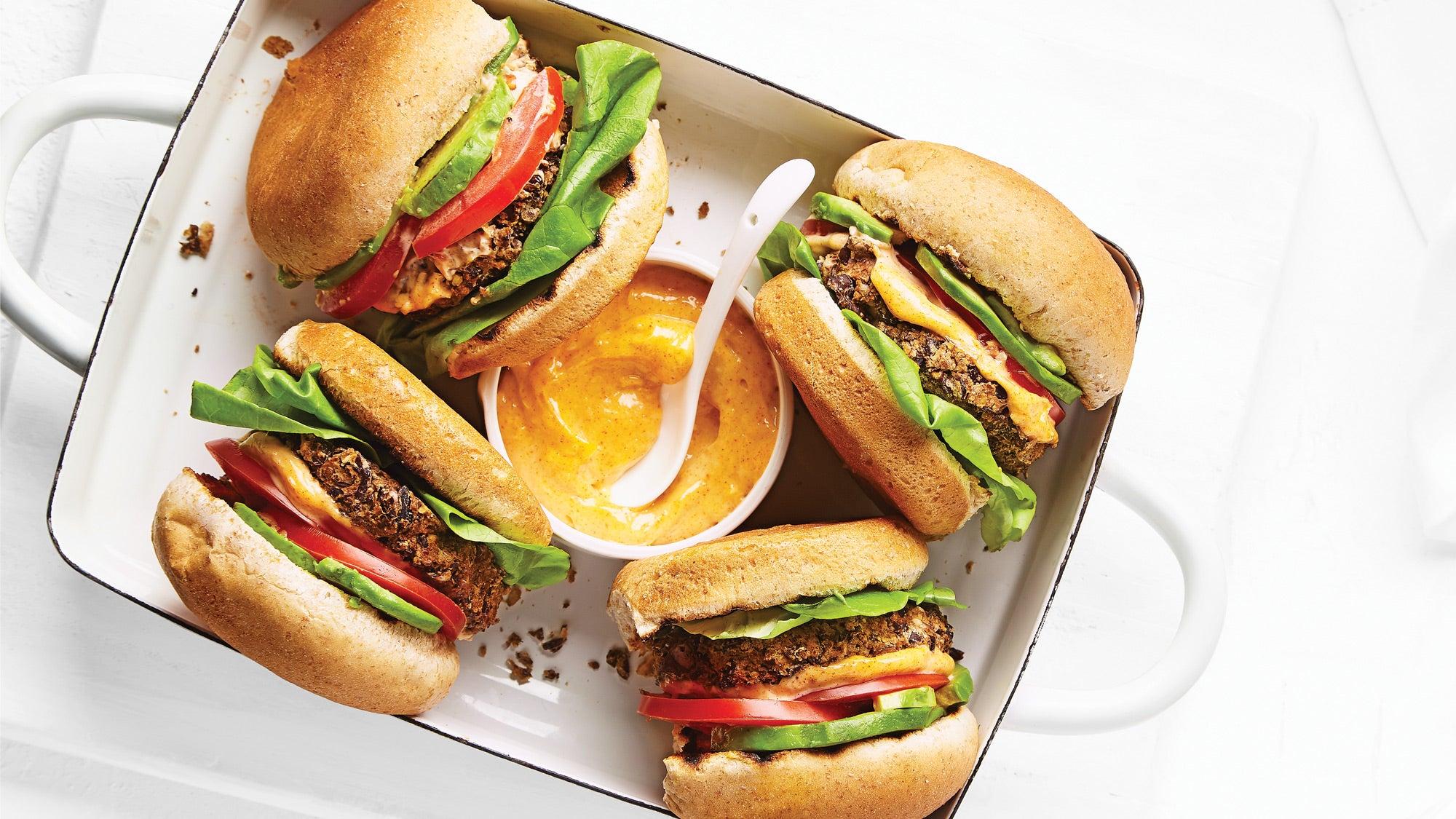Black Bean Burgers with Smoky Garlic Mayo recipe