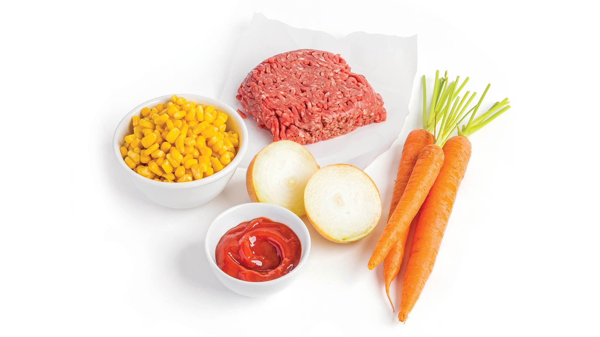Beef, onion, carrots, corn, tomato paste