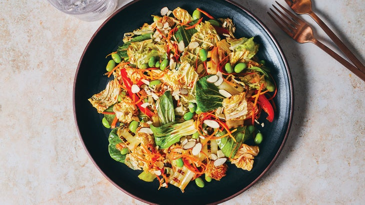 Charred Cabbage & Bok Choy Slaw with Kimchi Dressing recipe
