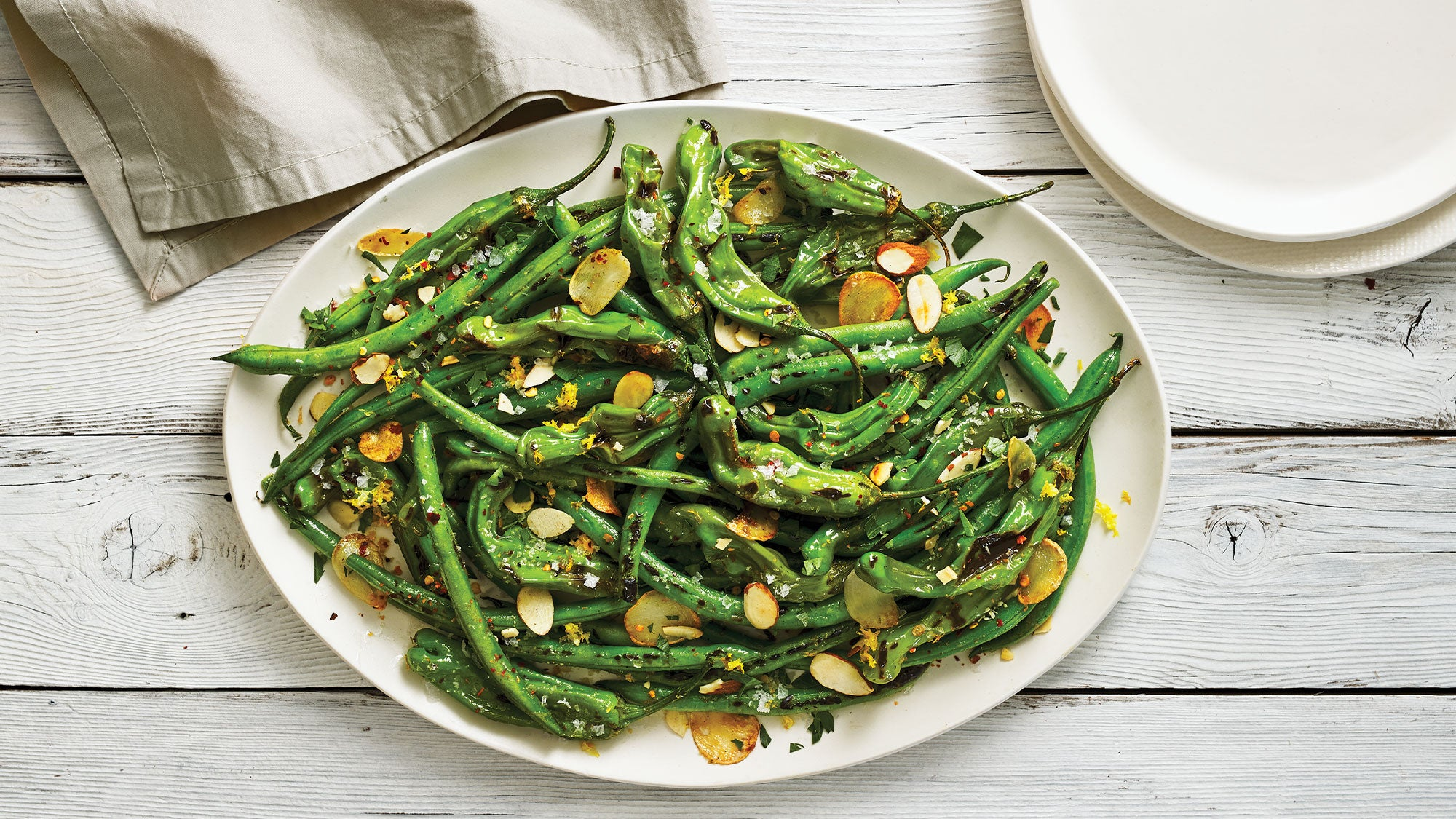 Blistered Green Beans & Shishito Peppers recipe