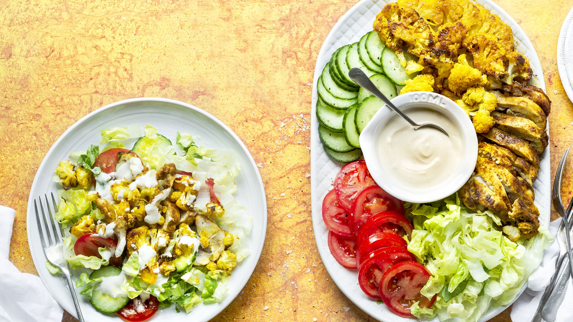 Chicken Donair Plate and Cauliflower Fish Cakes with Coconut Chutney recipes