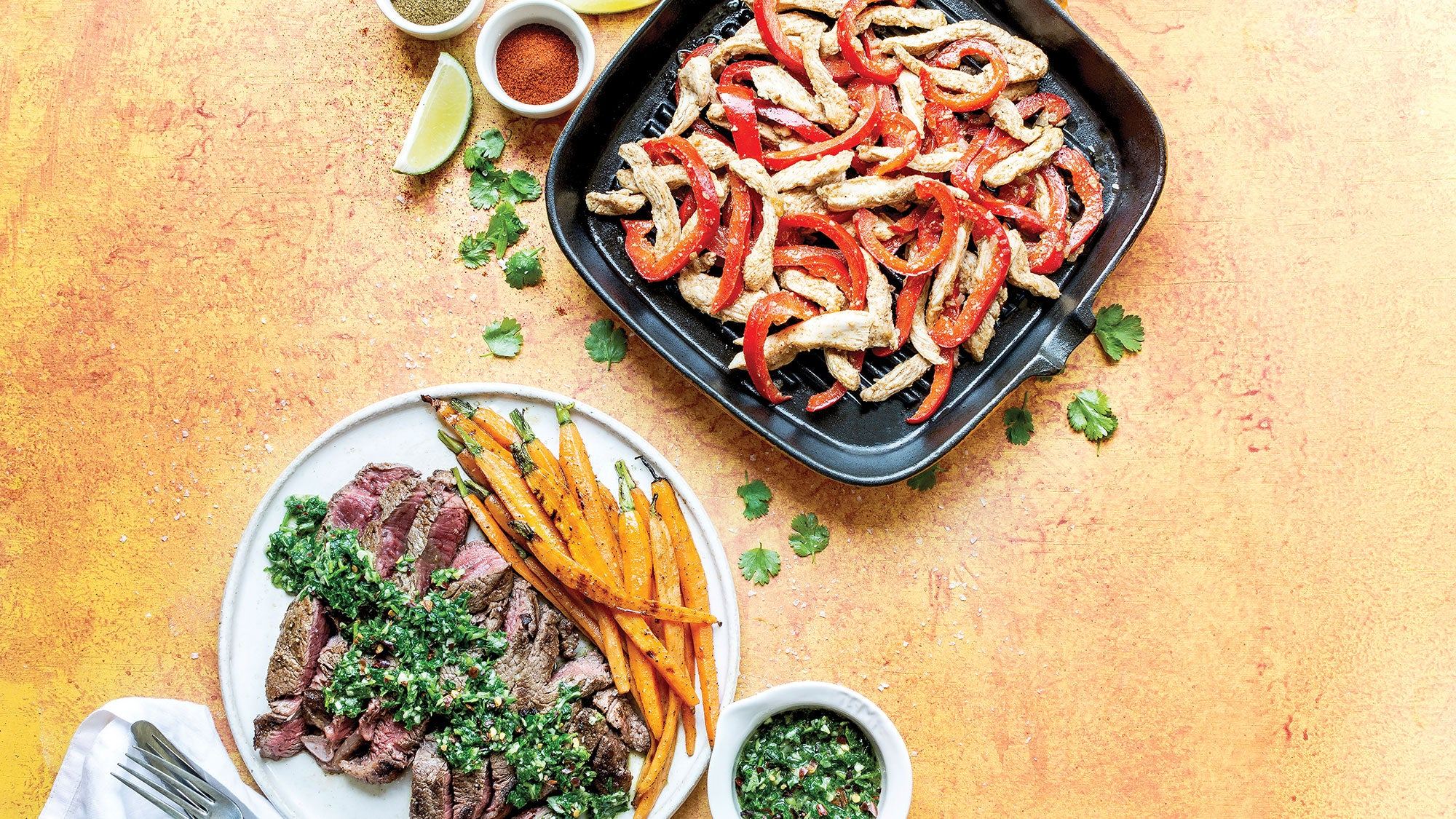 Flank Steak with Chimichurri Sauce & Roasted Carrots and Spicy Chicken Fajitas recipes
