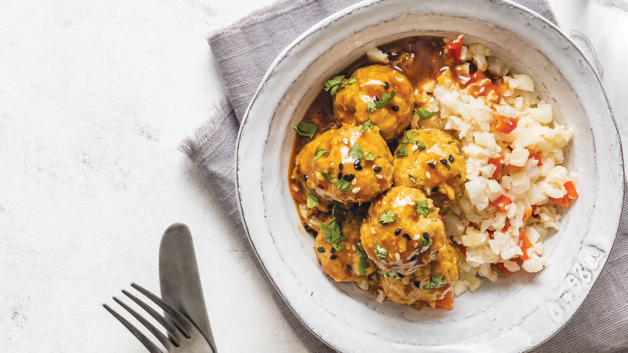 Ginger Turkey Meatballs with Coconut Cauli Rice recipe