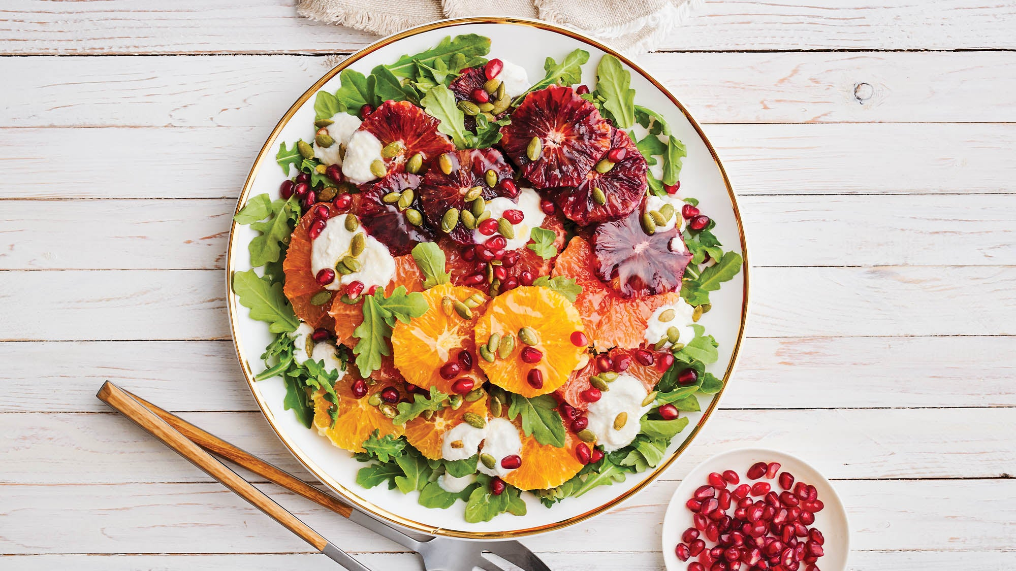 Mixed Citrus & Arugula Salad with Ricotta & Pumpkin Seeds recipe