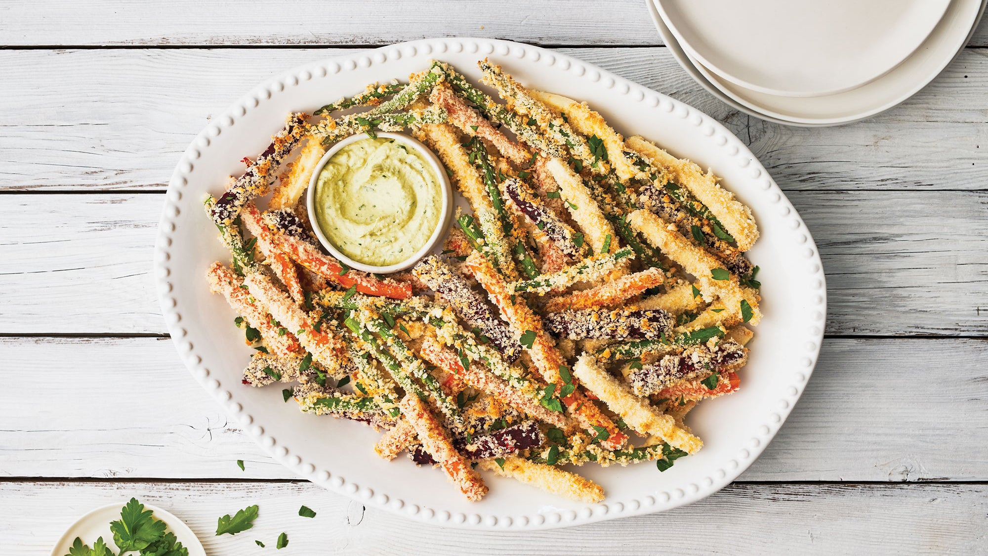 Roasted Vegetable Fries with Cashew Herb Dip recipe