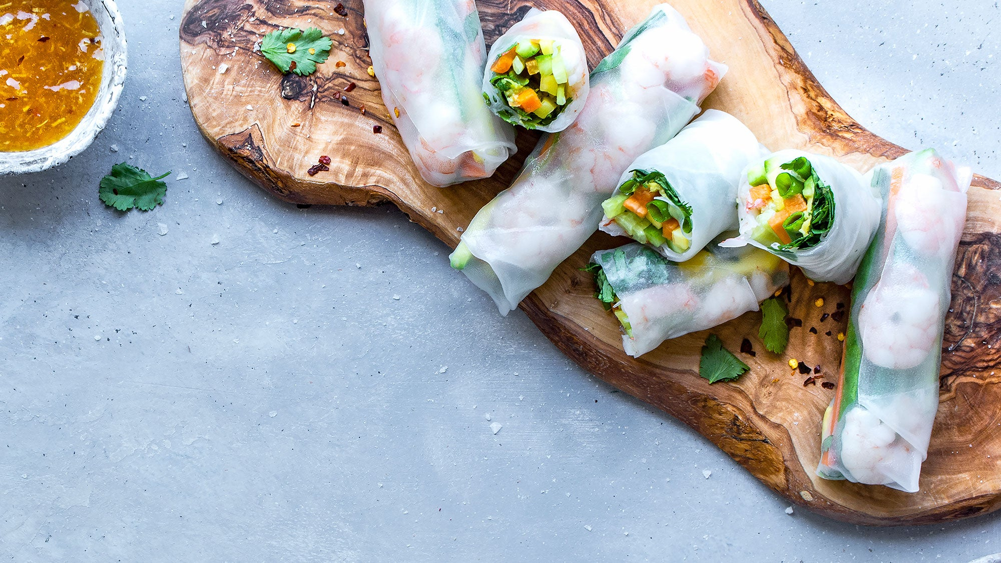 Shrimp Spring Rolls with Spicy Apricot Dipping Sauce recipe