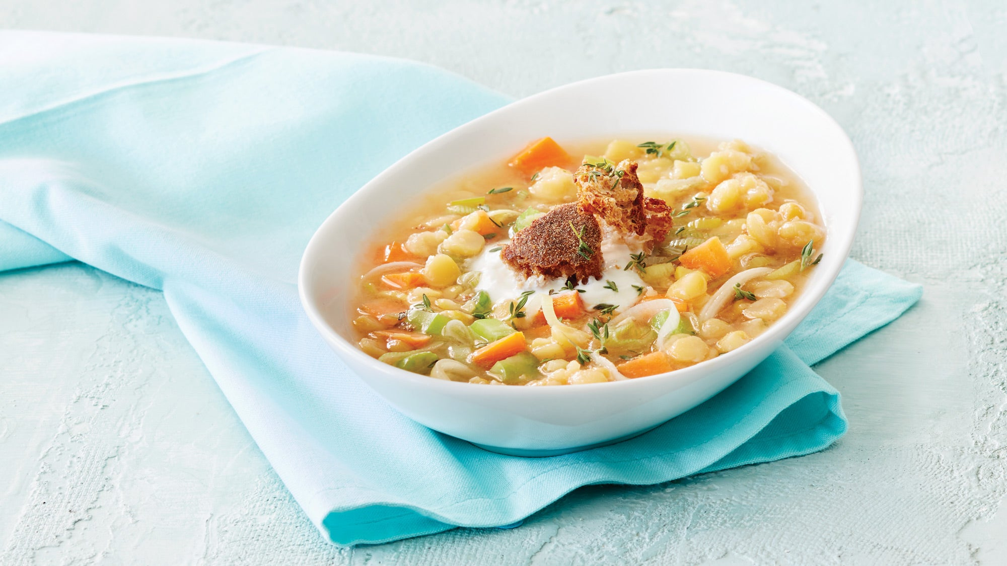 Yellow Split Pea Soup with Creme Fraiche & Torn Croutons recipe