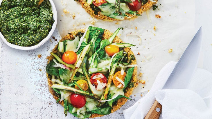 Veggie mini pizzas on white