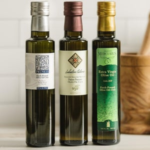 a selection of olive oils from the Fresh-Pressed Olive Oil Club